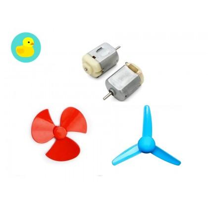 3V - 12V Mini DC Motor w/ Bracket & Fan Propeller